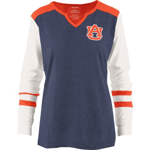 Three Squared Juniors' Auburn University Mia Raglan Long Sleeve Henley Shirt