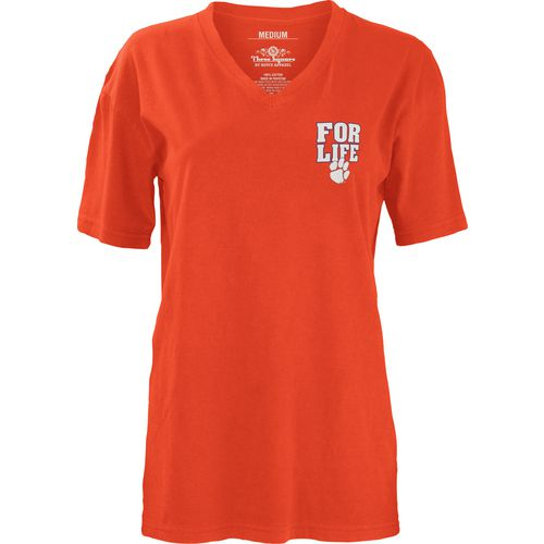 Three Squared Juniors' Clemson University Team For Life Short Sleeve V-neck T-shirt - view number 2