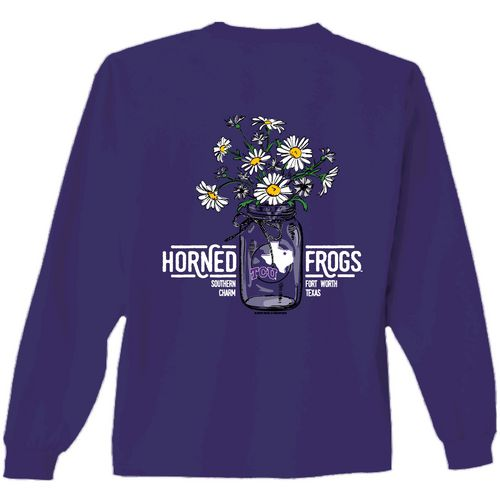 New World Graphics Women's Texas Christian University Bouquet Long Sleeve T-shirt
