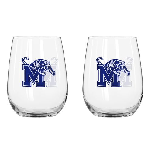 Boelter Brands University of Memphis 16 oz. Curved Beverage Glasses 2-Pack