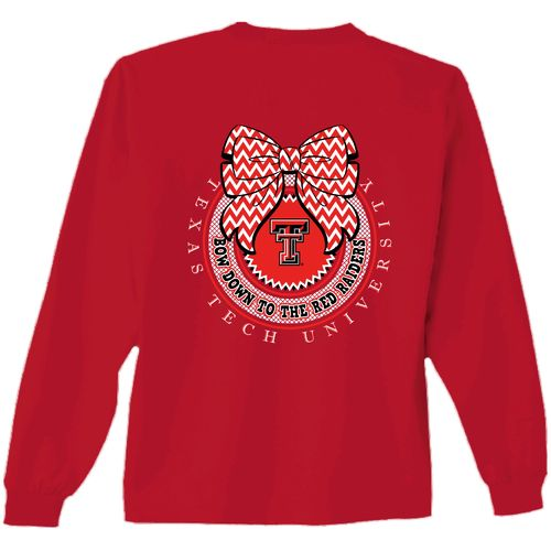 New World Graphics Women's Texas Tech University Ribbon Bow Shirt