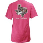 Three Squared Juniors' Lamar University Preppy Paisley T-shirt