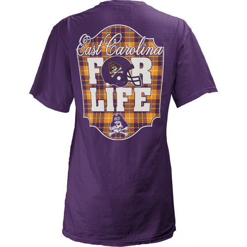 Three Squared Juniors' East Carolina University Team For Life Short Sleeve V-neck T-shirt