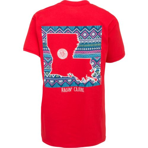New World Graphics Women's University of Louisiana at Lafayette Terrain State Comfort Color T-sh