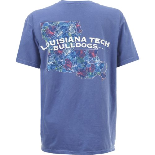 New World Graphics Women's Louisiana Tech University Comfort Color Puff Arch T-shirt