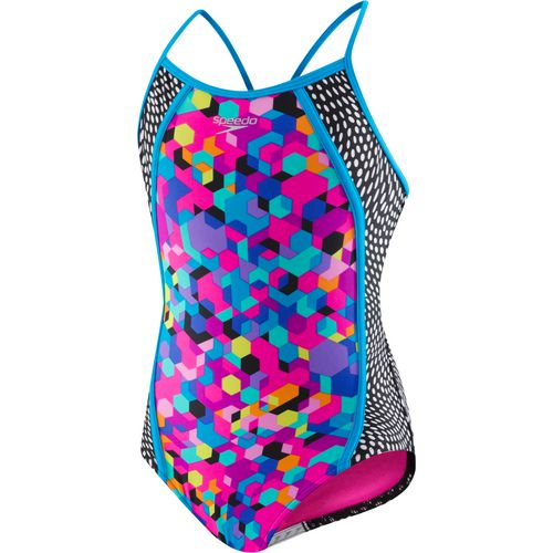 Speedo Girls' Hexaplex Splice 1-Piece Swimsuit