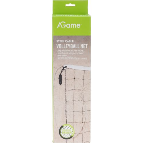 AGame 32 ft x 3 ft Steel Cable Volleyball Net