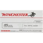 Winchester USA Full Metal Jacket Flat-Nose .45 Automatic 230-Grain Handgun Ammunition