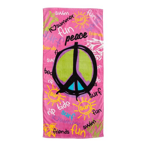"O'rageous® Graffiti Peace Sign 28""W x 60""L Beach Towel"