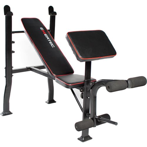 Exertec standard bench with leg developer yoke and preacher pad academy Academy weight bench
