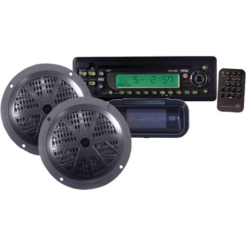 "Pyle 100W Single-DIN In-Dash CD Receiver with Two 5-1/4"" Marine Speakers"