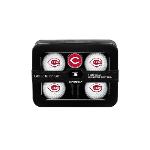 Team Golf Cincinnati Reds 4-Ball Tin Gift Set