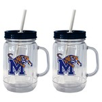 Boelter Brands University of Memphis 20 oz. Handled Straw Tumblers 2-Pack