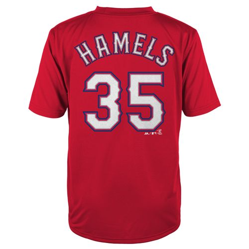 Majestic Boys' Texas Rangers Cole Hamels #35 Short