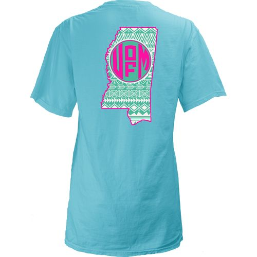 Three Squared Juniors' University of Mississippi Moonface Vee T-shirt