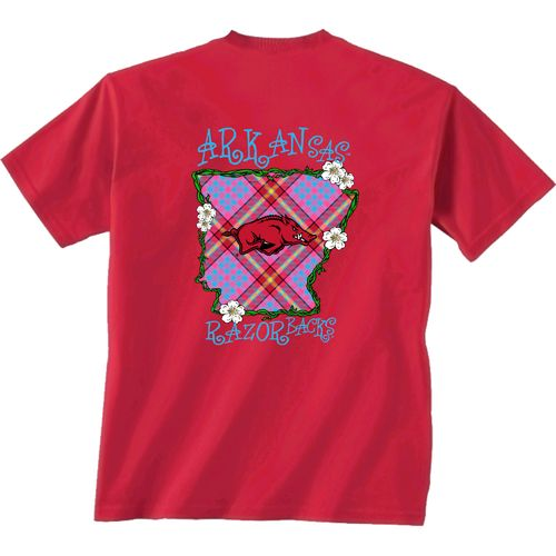 New World Graphics Women's University of Arkansas Bright Plaid T-shirt