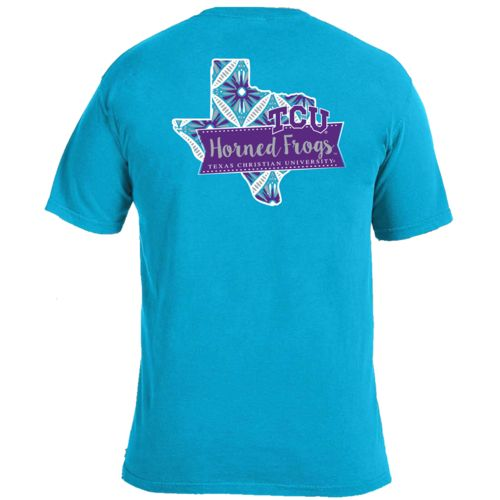 Image One Women's Texas Christian University Pattern Scroll State T-shirt
