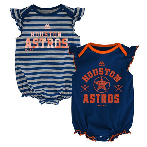 Majestic Infants' Houston Astros Sparkle Creepers 2-Pack