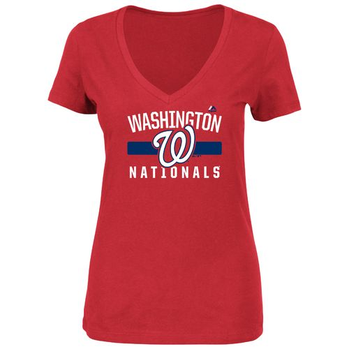 Majestic Women's Washington Nationals One Game at a Time V-neck Short Sleeve T-shirt