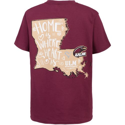 New World Graphics Girls' University of Louisiana at Monroe Where the Heart Is Short Sleeve T-sh