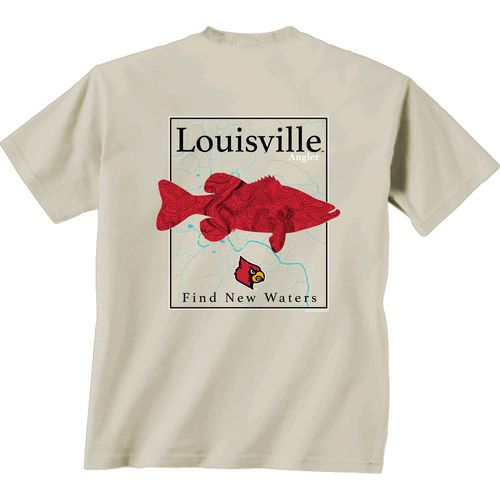 New World Graphics Men's University of Louisville Angler Topo Short Sleeve T-shirt