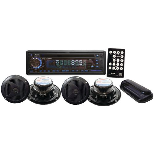 Pyle 150W Marine Single-DIN In-Dash Combo Receiver with Four 6-1/2' Speakers