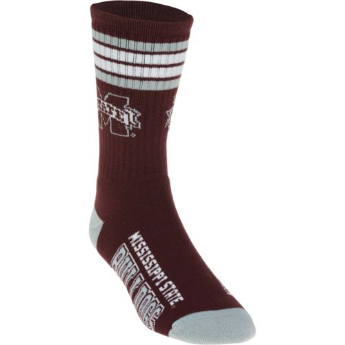 For Bare Feet Adults' Mississippi State University 4-Stripe Deuce Socks