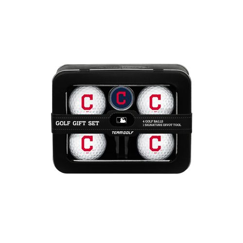 Team Golf Cleveland Indians 4-Ball Tin Gift Set