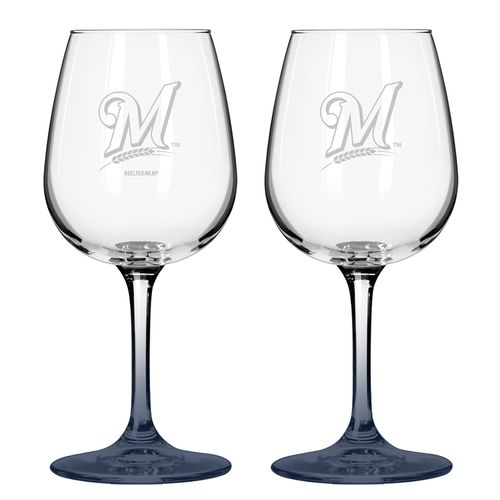 Boelter Brands Milwaukee Brewers 12 oz. Wine Glasses 2-Pack
