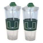 Boelter Brands University of Miami 22 oz. No-Spill Straw Tumblers 2-Pack