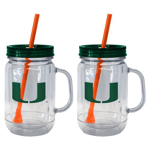 Boelter Brands University of Miami 20 oz. Handled Straw Tumblers 2-Pack