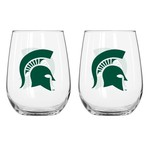 Boelter Brands Michigan State University 16 oz. Curved Beverage Glasses 2-Pack