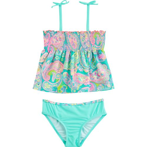 O'Rageous Kids Girls' Speckled Paisley 2-Piece Tankini Swimsuit