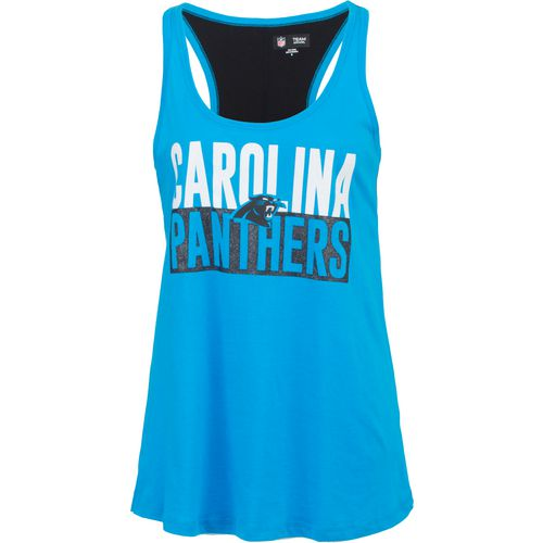 5th & Ocean Clothing Women's Carolina Panthers Glitter Tank Top