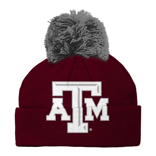 adidas™ Kids' Texas A&M University Cuffed Knit Cap with Pom