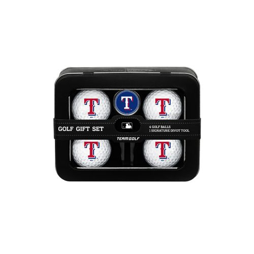 Team Golf Texas Rangers 4-Ball Tin Gift Set