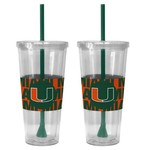 Boelter Brands University of Miami Bold Neo Sleeve 22 oz. Straw Tumblers 2-Pack