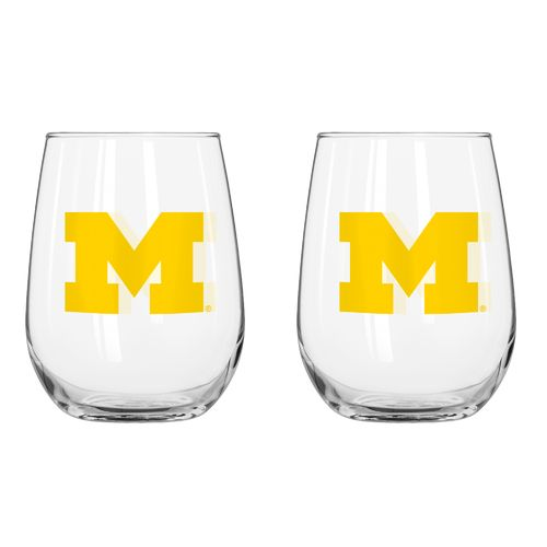 Boelter Brands University of Michigan 16 oz. Curved Beverage Glasses 2-Pack