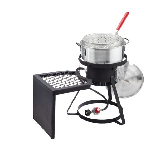 Outdoor gourmet 10 qt fish fryer set with side table academy for Fish cooker walmart