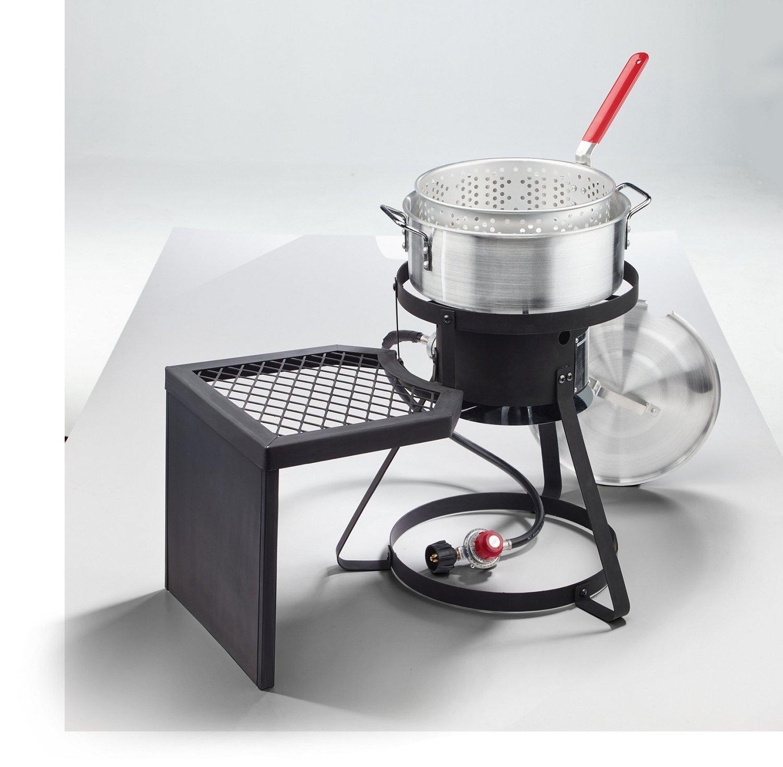 Fish fryer burner 2burner camp stove fryer in black for Fish fryer pot