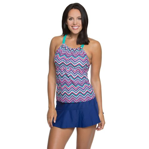 BCG Women's Check Me Out Double Strap Tankini Swim Top