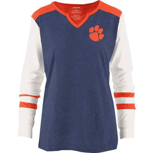 Three Squared Juniors' Clemson University Mia Raglan Long Sleeve Henley Shirt