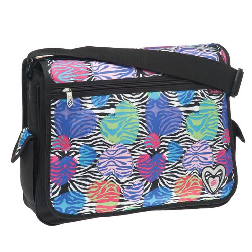 SKECHERS Girls' Zebra Heart Double-Sided Messenger Bag