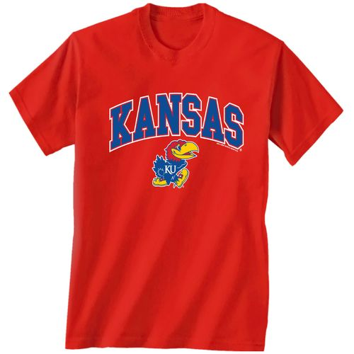 New World Graphics Men's University of Kansas Arch Mascot T-shirt