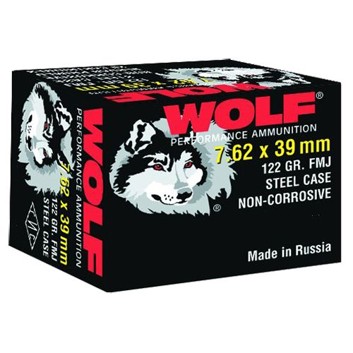 WOLF Performance Ammunition 7.62 x 39mm 122-Grain Bimetal FMJ Centerfire Rifle Ammunition