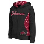 Colosseum Athletics Girls' University of Arkansas Polka Poly Fleece Hoodie