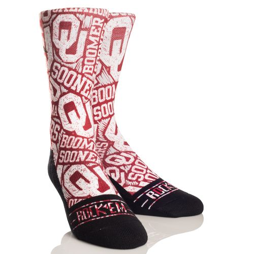 Rock 'Em Apparel Men's University of Oklahoma Logo Sketch Socks