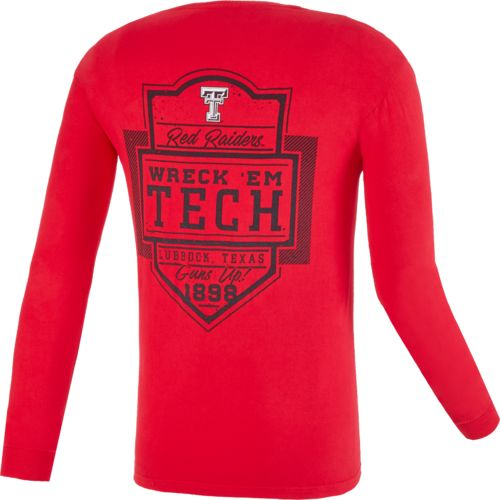 Image One Men's Texas Tech University Finest Shield Comfort Color Long Sleeve T-shirt