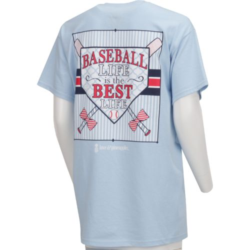Display product reviews for Love & Pineapples Women's Baseball Life is the Best Life Short Sleeve T-shirt