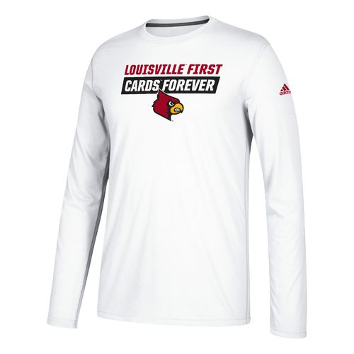 adidas Men's University of Louisville Block Statement Long Sleeve Basketball T-shirt